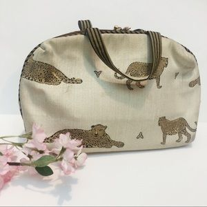 Vtg Leopard Pattern Beige Makeup Bag